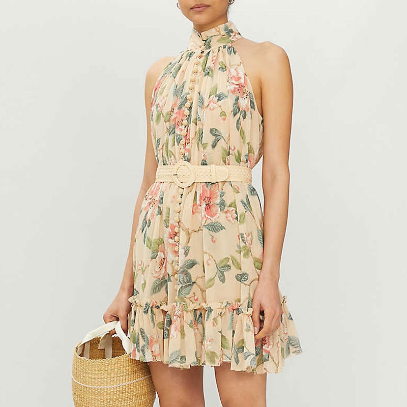 Vestido vintage de verão para mulheres, vestido vintage de estampa floral sem manga elegante 2020