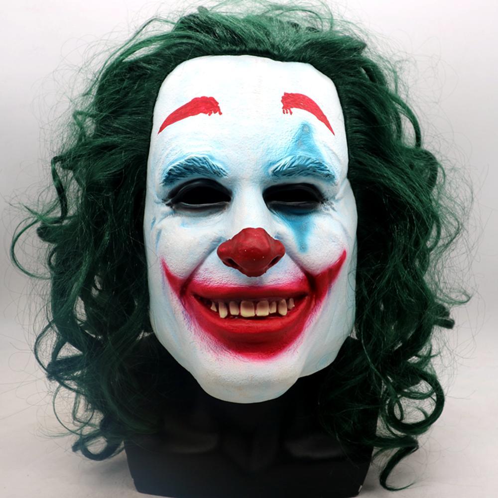 2019 Joker Origin Movie Horror Scary Clown Mask With Wig Green Cosplay Joaquin Phoenix Arthur Fleck Latex Mask Halloween Props