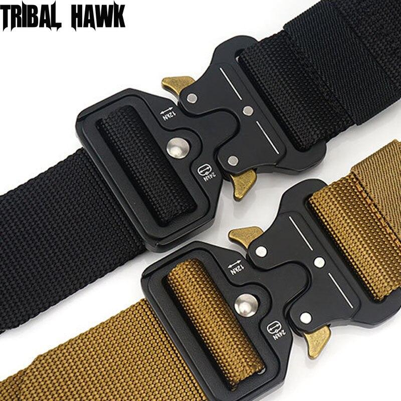 Militar militar táctico cinturón de Nylon policía vaqueros para hombres cinturón de hebilla de Cinto de la correa de la cintura de la supervivencia al aire libre caza lujos Tactico