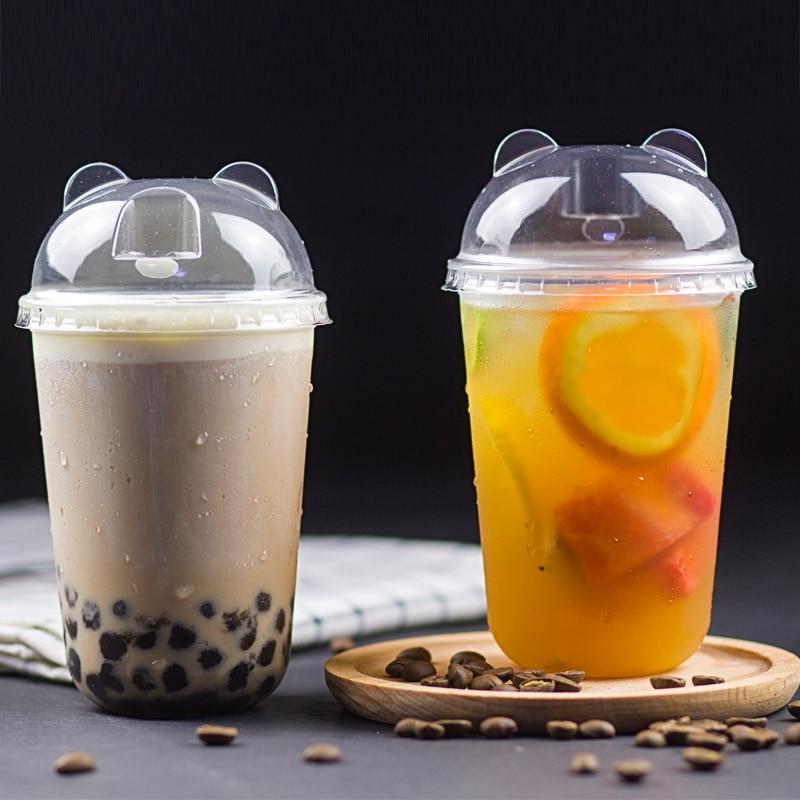 50 piezas de calibre 90 en forma de U de bebida fría de tazas de 400ml 500ml 700ml de lazo bolso de taza de plástico de té de leche de café con tapa
