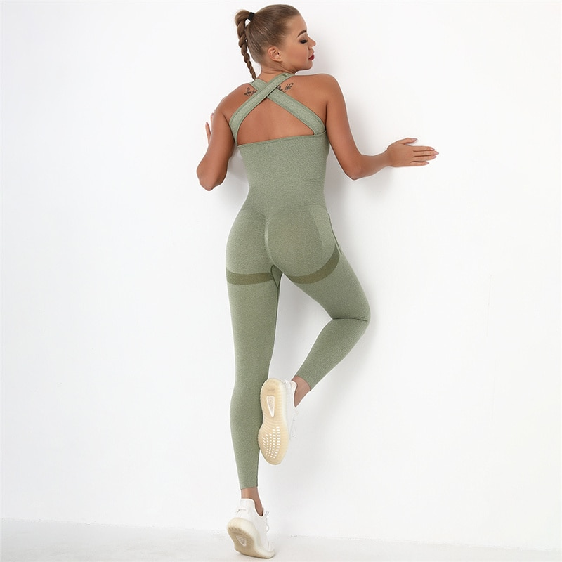 Seamless One-piece Sets Women Gym Clothing Sports Suits Hips Push Up Bodysuit High Waist Running Sui