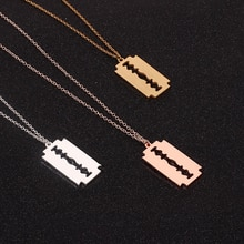 New Hiphop Punk Stainless Steel Razor Blades Pendant Necklaces Men Jewelry Shaver Shape Necklaces Ro