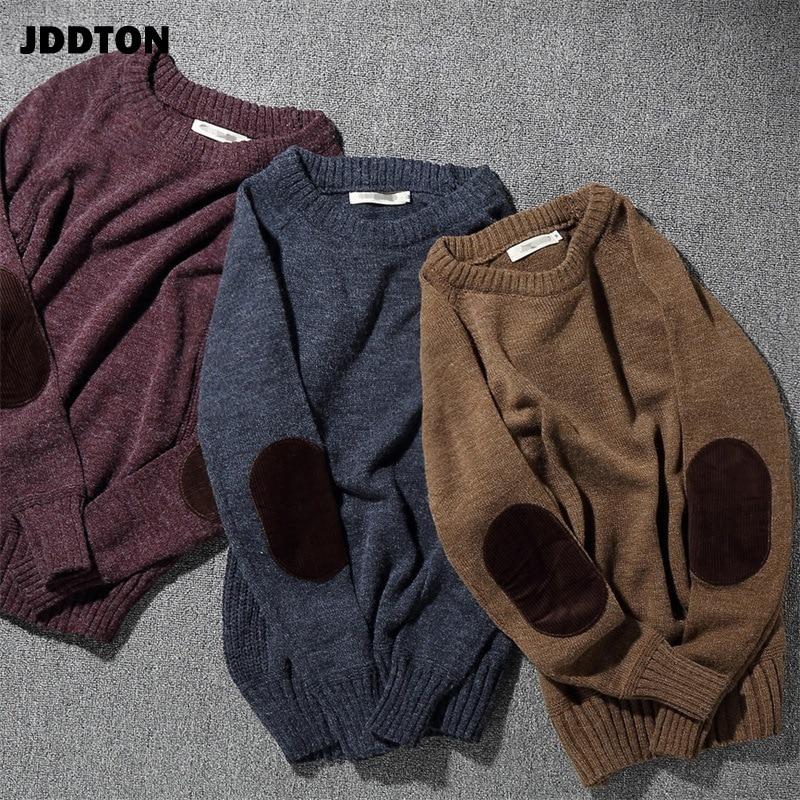 JDDTON, suéter de punto de invierno con cuello redondo para hombres, Harajuku, suéter Casual artístico, Hip Hop, parche cálido de moda, Jersey Streetwear JE349