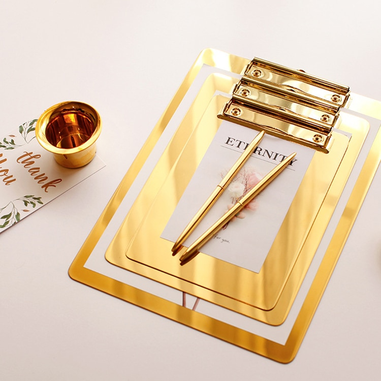a4 multifunctional folder information folder sales clip manager talk about single clip office board clip measuring room contract Gold Stainless Steel File Folder Writing Pad Menu Folder Information Folder Clip Board Clipboard A4 Paper Holder Office Board