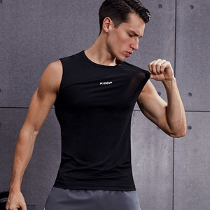 Men's fitness basketball sleeveless vest round neck slim fit sports vest keep quick drying clothes #MBF9190 MBF1190
