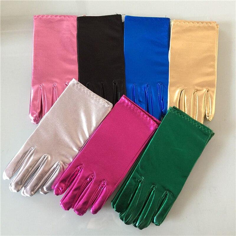 Guantes cortos de cuero para hombres y mujeres, guantes de fiesta de muñeca de moda de plata dorada, brillantes guantes de rendimiento para Unisex