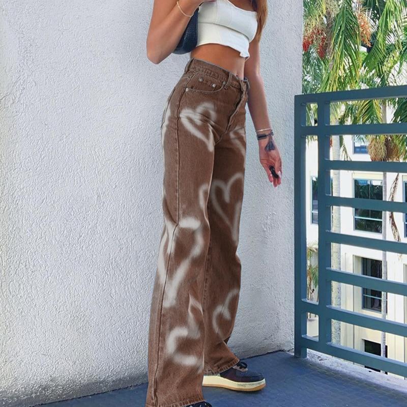 Women Fashion Heart Printed Jeans Woman High Waist Denim Pants Lady Casual Loose Straight Trousers Streetwear 2021 New
