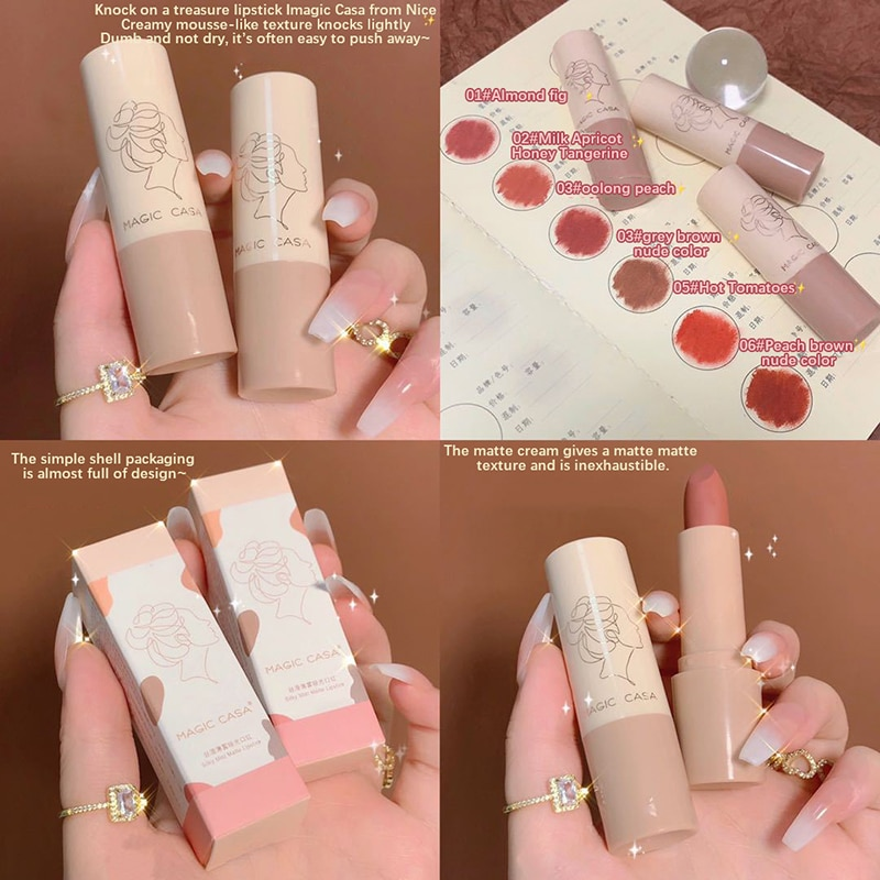 6 Colors Easy to Wear Waterproof Non-stick Cup Lipstick Matte Smooth Lip Glaze Charming Lip Makeup W