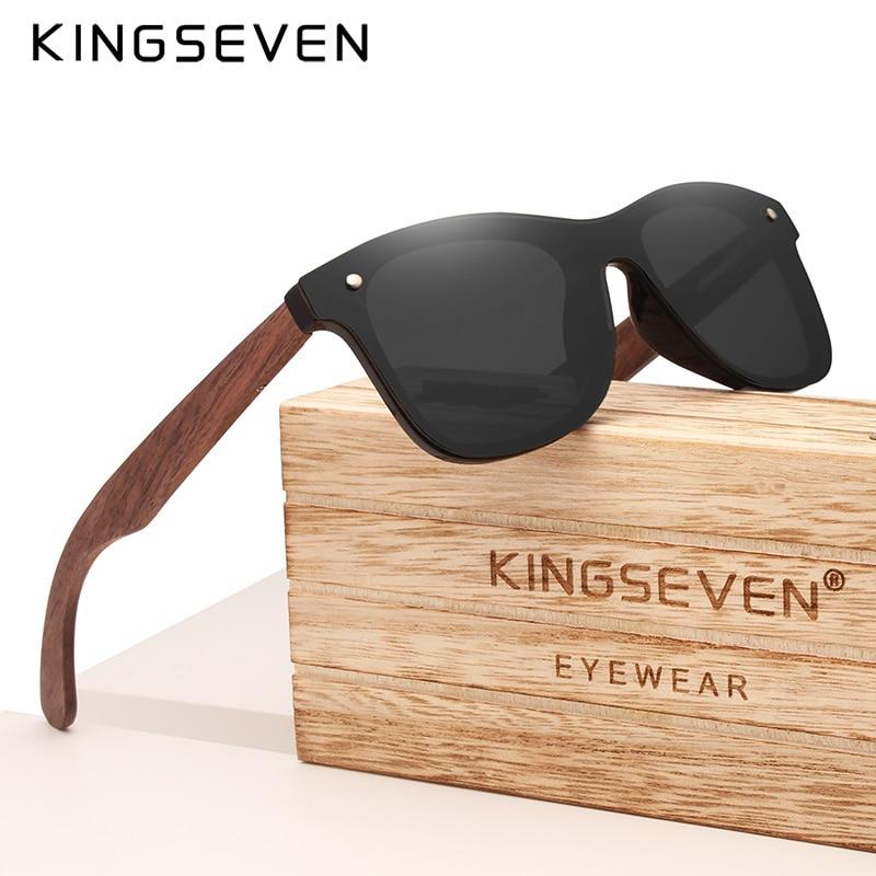KINGSEVEN Handmade Polarized Walnut Wood Sunglasses UV400 Fashion Men Women Brand Design Colorful Sun Glasses Mirror Shades