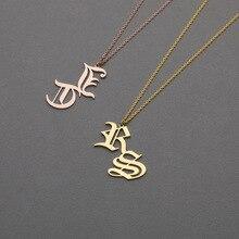 DOREMI Alten Englisch Private Name Initial Brief Benutzerdefinierte Halskette Hohlen Metall Anhänger Halskette Schlüsselbein Kette