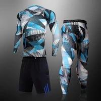 3pcsset mens tracksuit sports suit gym fitness compression clothing thermal underwear set jogging workout tights base wear