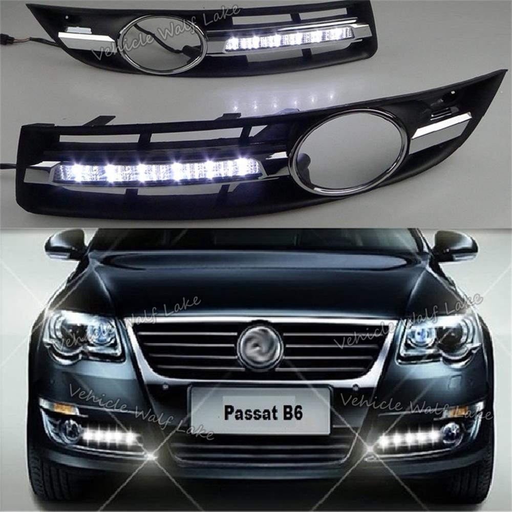 2 uds x LED DRL para VW Passat B6 2006 2007 2008 2009 2010 2011 coche-estilo LED DRL Luz de circulación diurna impermeable con arnés