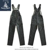 SauceZhan BD01 Bib Jeans Vintage Zerrissen Overalls Selvedge Jeans Jeans Raw Denim Overalls für Männer hosenträger jeans männer Blau Jeans