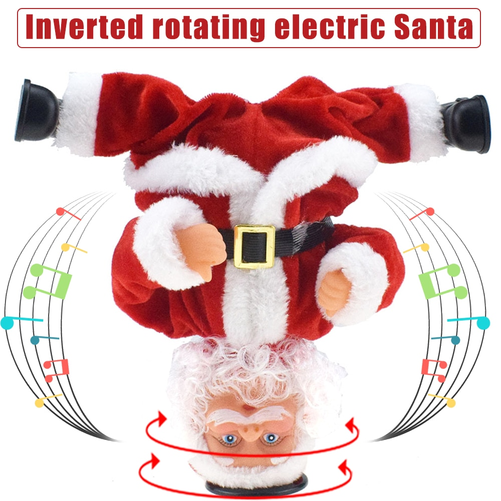 New Rotating Handstand Stunts Santa Claus Doll Electric Music Toy Christmas Gift for Kids SCI88