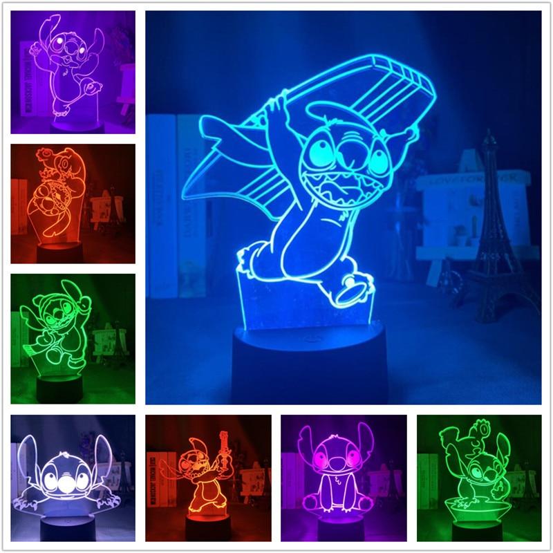 Disney stitch 3d led night light bonito lampara casa decoração da lâmpada crianças presentes de natal lâmpadas quarto decoração iluminação crianças luzes