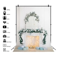 laeacco white fireplace candle christmas festival interior bulb light decor gift floor party portrait photo background backdrops
