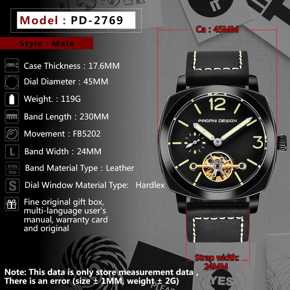 PAGANI DESIGN Top Brand Men's Automatic Mechanical Watches Luminous Leather Fashion Casual Waterproof Watch relogio dropshipping enlarge