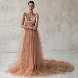 Spaghetti Straps Sequined Top V-Neck Backless Tulle A-Line Wedding Dress 2021 Vestido De Noiva Bridal Gown