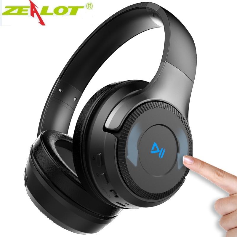 Zealot B26T سماعات بلوتوث لاسلكية سماعة التحكم باللمس ستيريو سماعة رأس مزودة بميكروفون لجميع الهواتف ، ودعم بطاقة sd/TF