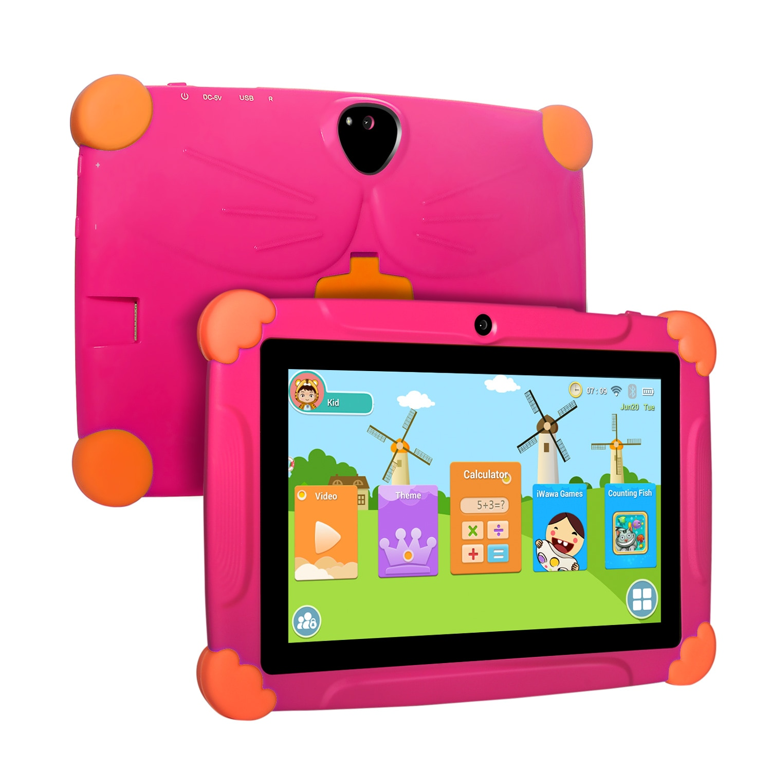 Children Tablet for Kids Android 8.1 Touch 7inch HD Pad with Silicone Case USB charge Quad Core 1GB 16GB