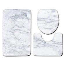 Tapis de salle de bain antidérapant 3 pièces/ensemble   À la mode, tapis sur pied de Style marbre + couvercle couverture de toilette + tapis de bain