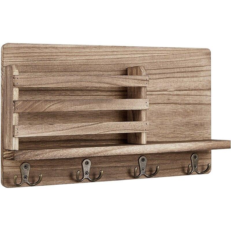 حامل بريد الحائط خشبي منظم فارز البريد ، مع 4 خطاف مفتاح مزدوج ديكور المنزل ، لغرفة المدخل أو الطين