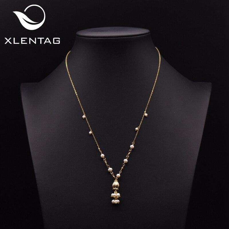 Xlentag, diseño Original, collares y colgantes de perlas blancas naturales para mujer, cadenas de amor para boda, joyas Vintage de lujo GN0174