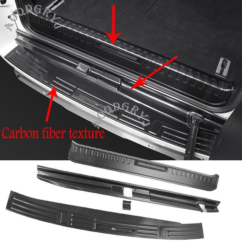 Protector de la placa del parachoques del maletero trasero de la textura del carbón del Metal 3 uds para Toyota Land Cruiser Prado FJ150 7-seats 2010-2019