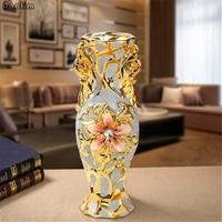 european style vase gold embroidery ceramic vase senior retro vase for bedroom study corridor family wedding decoration