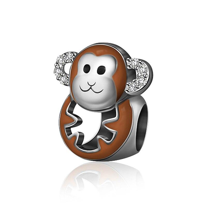 NEW 100% 925 Sterling Silver Charm 1:1 Original Authentic Classic Monkey Of The Zodiac Retro Elegant Women Bead Wedding Jewelry