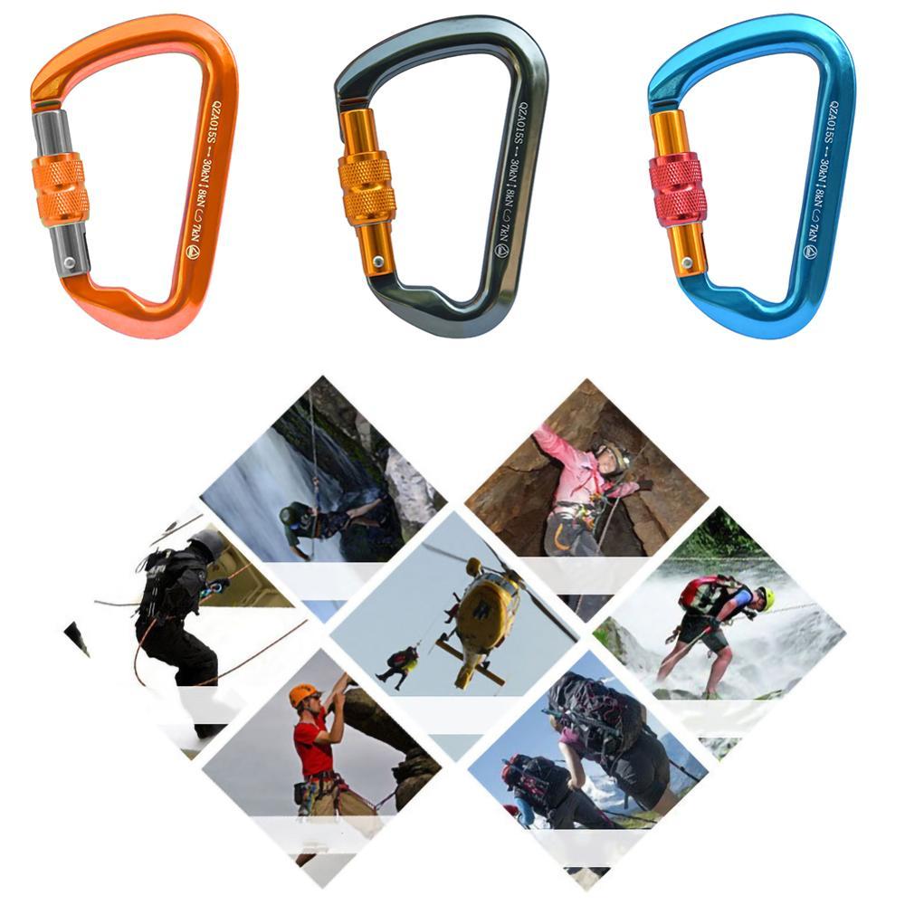 Outdoor Carabiner Security Rock Climbing Lock D Type Ring Hook Outdoor Downhill Climbing Equipment Safety Hook Climbing Tools