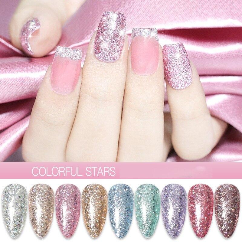 Lámpara UV diamante brillo Gel de uñas de brillo pintura Bling laca para esmalte de uñas esmalte Gel extensión de uñas Gel arte de uñas Gel al por mayor