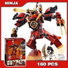 160pcs Ninja The Samurai Robots Warrior Battle Machine 11159 Model Building Blocks Toys Bricks Compatible with Lago