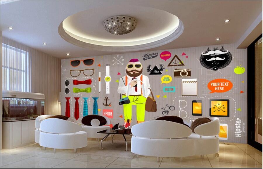 Papel pintado 3d con foto personalizada fondo de música moderno bar dibujado a mano animal personas tocando pared 3d murales papel tapiz para paredes 3 d