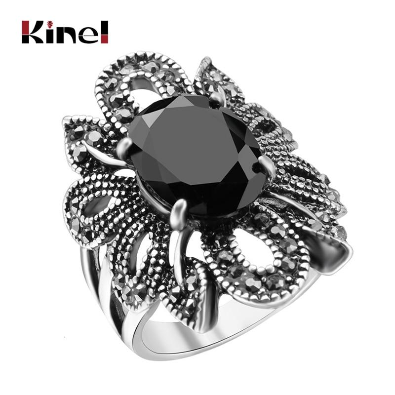 2017 Punk Rock anillo joyería Color plata maneras antiguas negro piedras ahueca hacia fuera la personalidad femenina Hipster indexador anillos de dedo