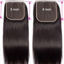 Cierre de encaje Natural con pelo de bebé, línea de cabello humano Remy, liso, 12-24 pulgadas, 4x4, 5x5, 6x6