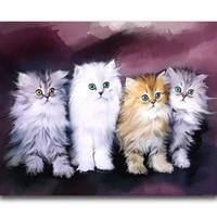 Peinture diamant chat blanc  broderie 5d a faire soi-meme  points de croix  motifs chaton  strass  mosaique  decoration dinterieur  cadeau
