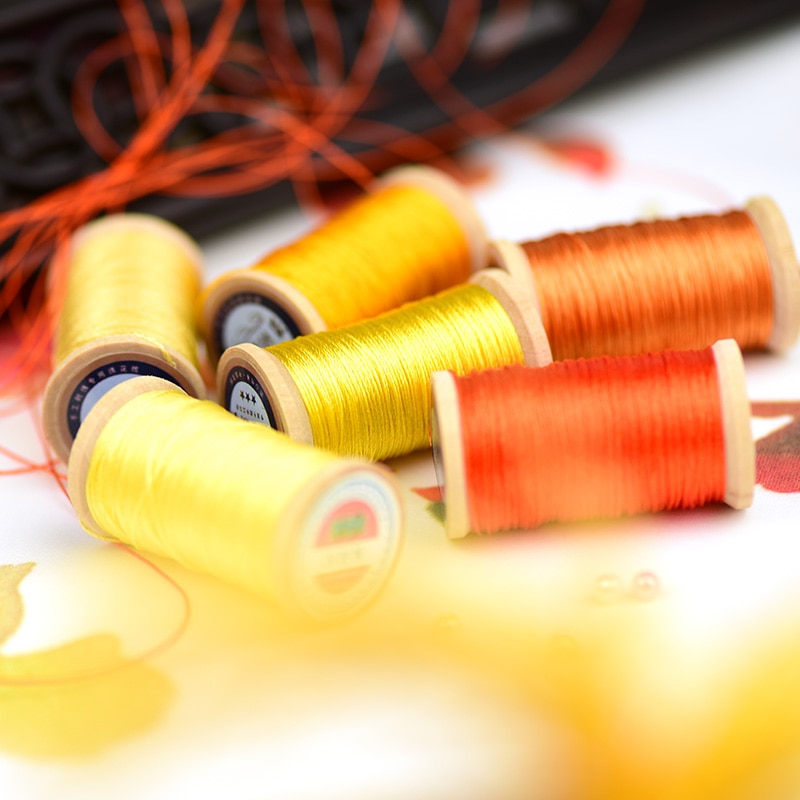 Rollo de 0,3mm de fibra de poliamida línea de bordado tejido a mano hilo borlas línea 50M de alta resistencia 3 hilos hilo amarillo