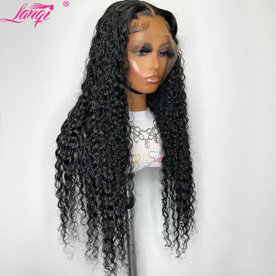 Deep Wave Frontal Wig Deep Curly Lace Closure Wig Pre Plucked Brazilian 30 Inch T Part Lace Front Human Hair Wigs For Women