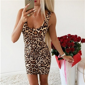 2021 Leopard Print Slash Neck Sleeveless Tube Slip Mini Dress Summer Women Party Club Bodycon Outfits Streetwear