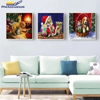 photocustom acylic christmas cat paint by numbers gift kits picture by numbers diy gift on canvas painting home modern wall art