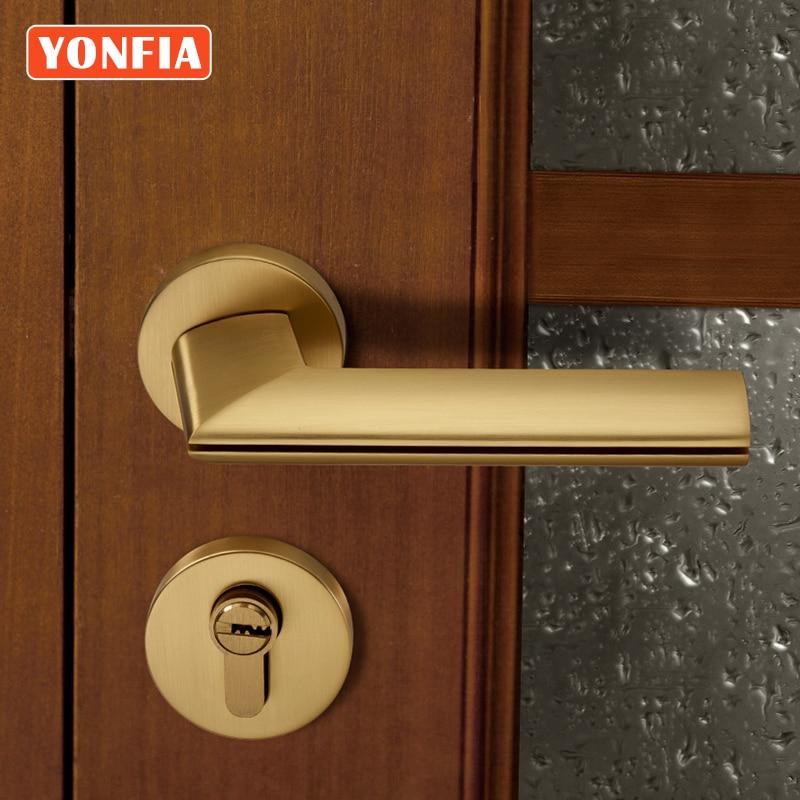 أقفال أمان عصرية نحاسية نحى 8032 من yonfy لمقبض باب المنزل ذهبي لمقبض باب غرفة النوم مع قفل نقر لقفل الباب