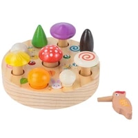 colorful kids magnetic pull mushroom woodpecker catch worm home puzzle game early education toy