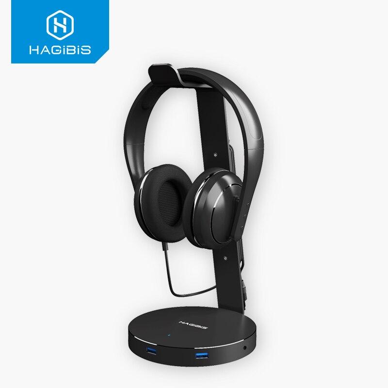 Habilis fone de ouvido suporte de fone de ouvido com 4 portas usb 3.0 hub display porta áudio para suporte e fone de ouvido cabo armazenamento