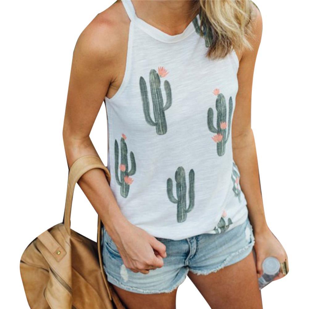 Summer Casual Women Cartoon Cactus Print Sleeveless Round Neck Vest Tank Top  Ladies round neck sleeveless T-shirt