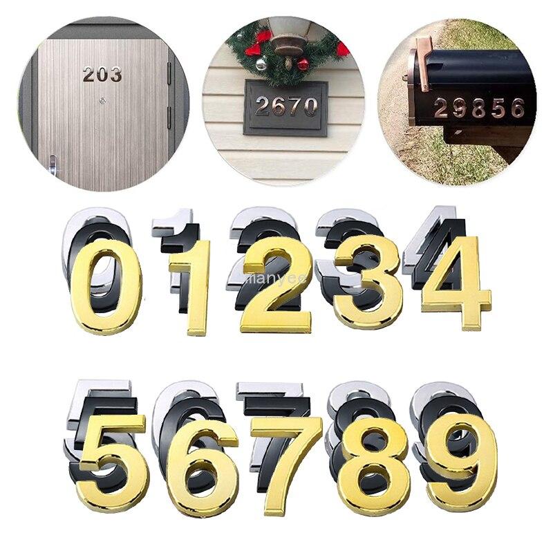 Cartel de número de puerta de casa de 5cm autoadhesivo número de puerta de la casa 3D dígitos Hotel apartamento casa calle número pegatina de pared