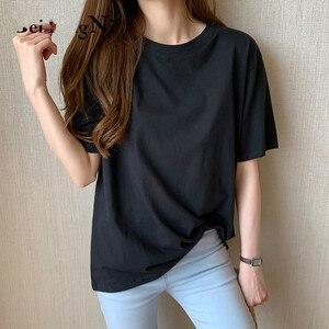 Women's oversize casual T-shirt cotton loose Korean T-shirt women's m-4xl basic retro top women's shirt woman tshirts Short