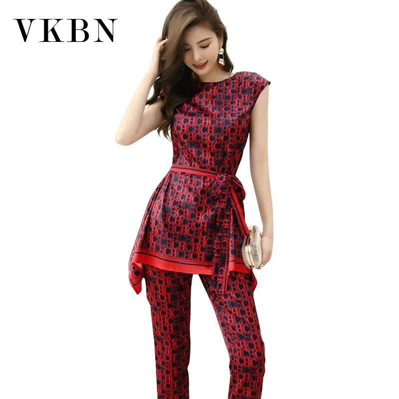 VKBN Top Irregular 2 piezas Set mujeres sin mangas Impresión de letras de alta cintura Pantalones rectos traje o-cuello pantalones suéter Set