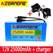 100% 12v 25000 mah bateria recarregável de íon de lítio de alta capacidade 12.6v 25ah ac carregador de energia com indicador de carregamento + carregador