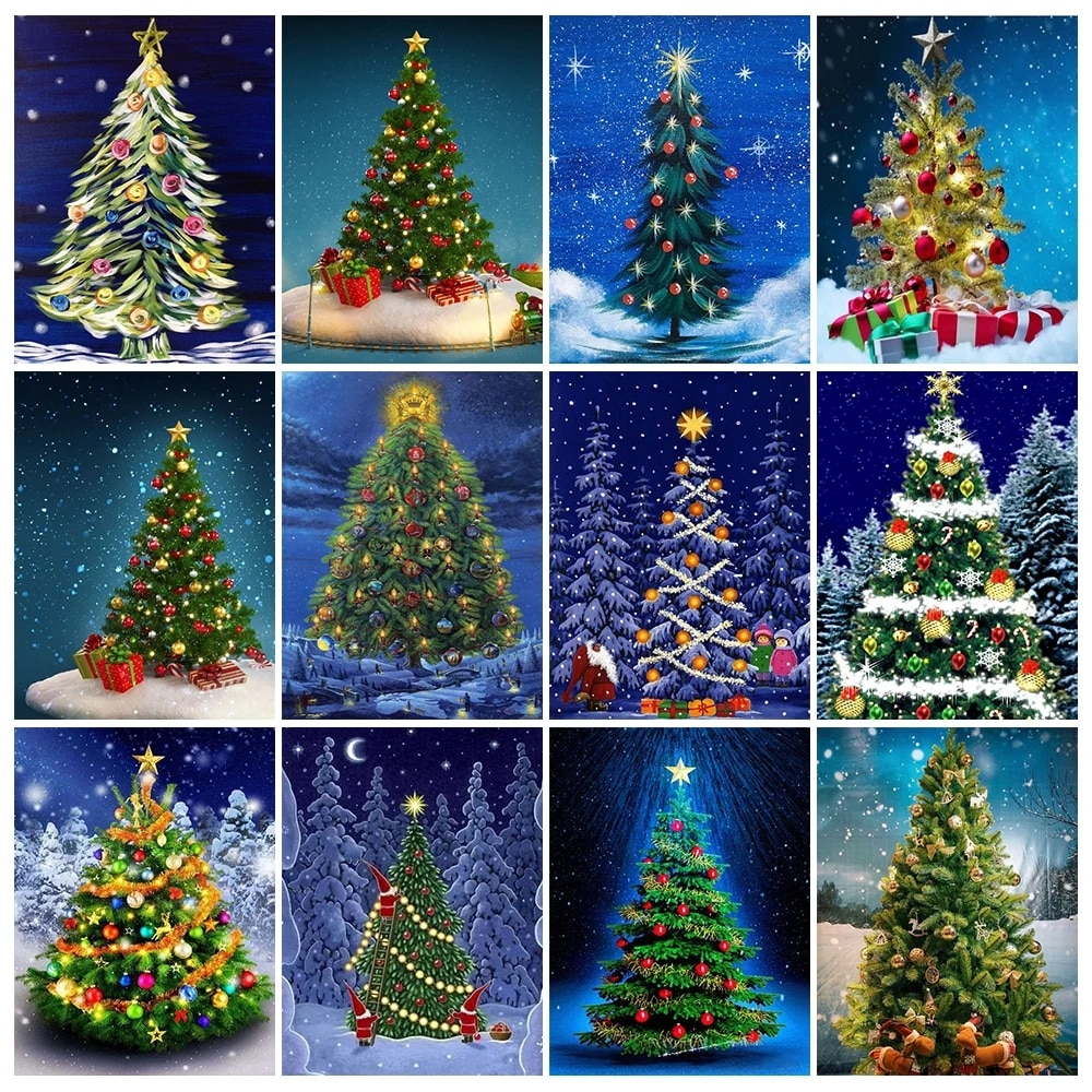 Full Square/Round Drill 5D Diy Diamond Painting Christmas Tree Diamond Embroidery Cross Stitch Mosaic Art Landscape Home Decor